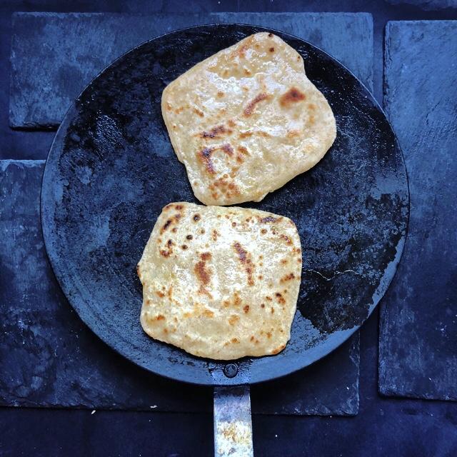 Make paratha on a skillet