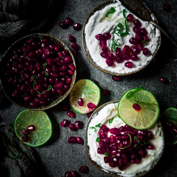 Vegan Syllabub w pomegranate and lime