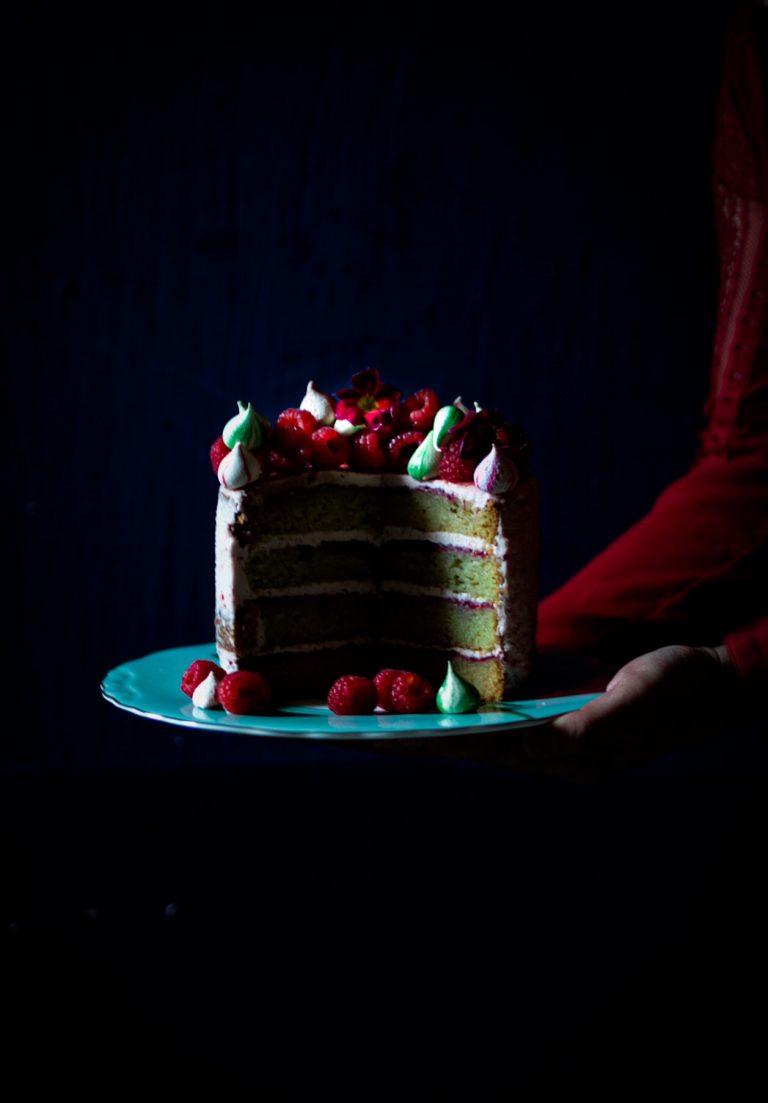 Raspberry Jam Cake with Swiss Buttercream Meringue