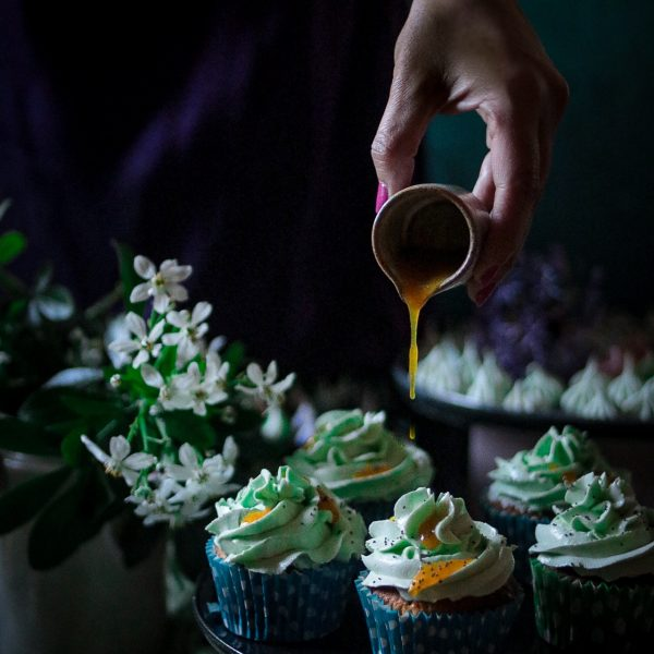 Passion fruit and poppy seed cupcake