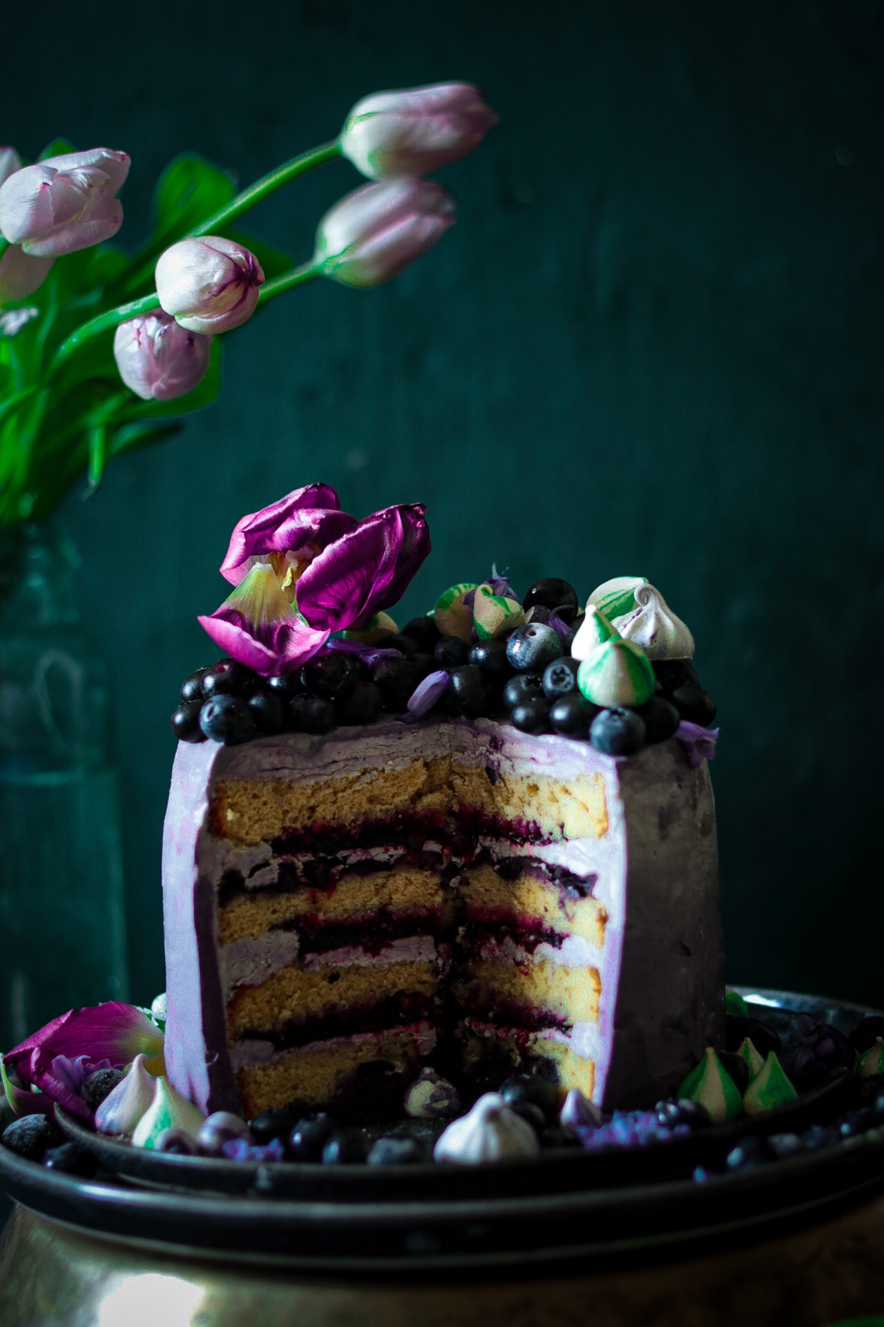 Blueberry cake with passion fruit swiss meringue buttercream