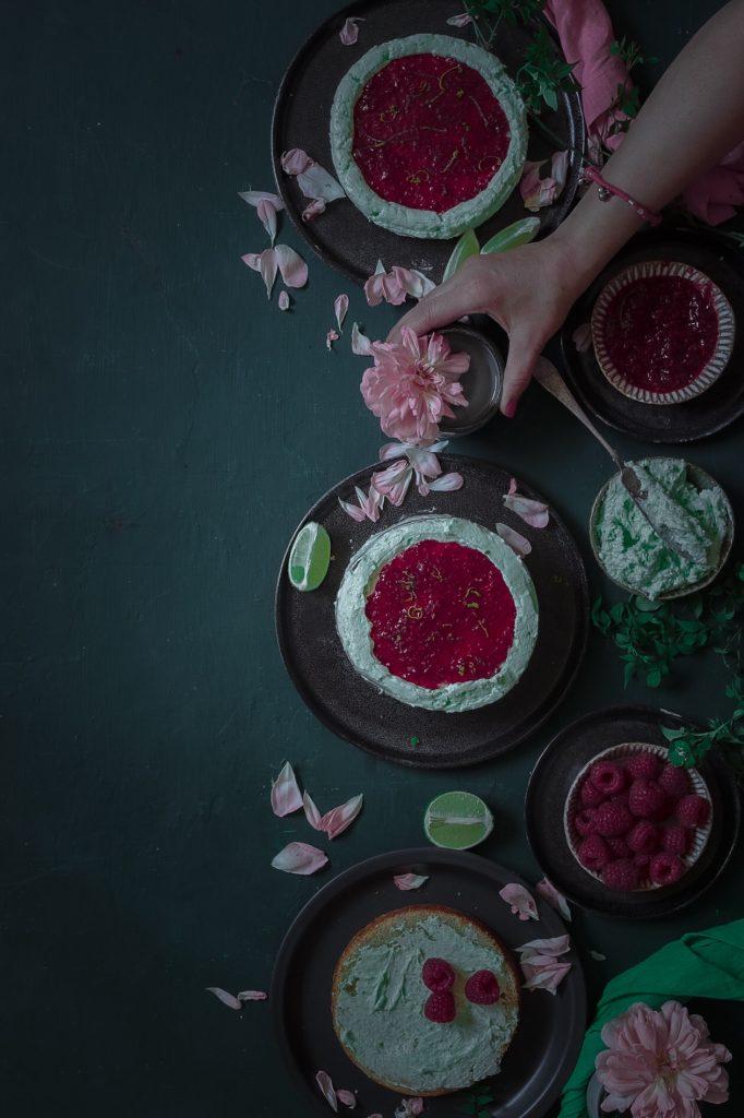 vanilla cake w raspberry jam and cream cheese frosting